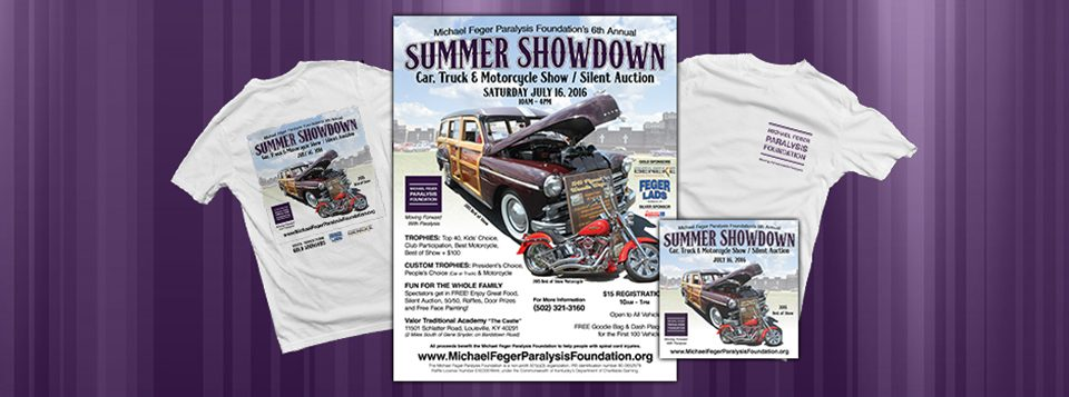 "Graphics for the 6th Annual Summer Showdown Car Show & Silent Auction. The Michael Feger Paralysis Foundation is hosting the 6th Annual Summer Showdown Car Show & Silent Auction on July 16, 2016 from 10am to 5pm. At Valor Traditional Academy ""The Castle"" in Louisville, KY. (off Bardstown Road, 2 Read More >"