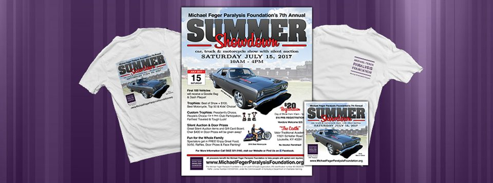 "Graphics for the 7th Annual Summer Showdown Car Show & Silent Auction. The Michael Feger Paralysis Foundation is hosting the 7th Annual Summer Showdown Car Show & Silent Auction on July 15, 2017 from 10am to 4pm. At Valor Traditional Academy ""The Castle"" in Louisville, KY. (off Bardstown Road, 2 Read More >"