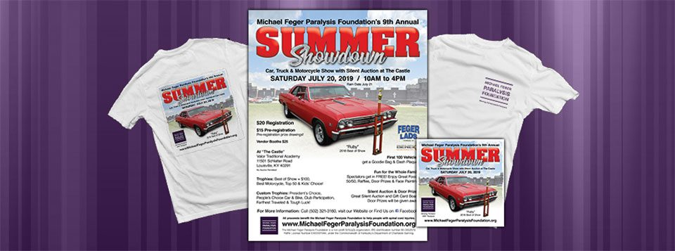 "Graphics for the 9th Annual Summer Showdown Car Show & Silent Auction. The Michael Feger Paralysis Foundation is hosting the 9th Annual Summer Showdown Car Show & Silent Auction on July 20, 2019 from 10am to 4pm. At Valor Traditional Academy ""The Castle"" in Louisville, KY. (off Bardstown Road, 2 Read More >"
