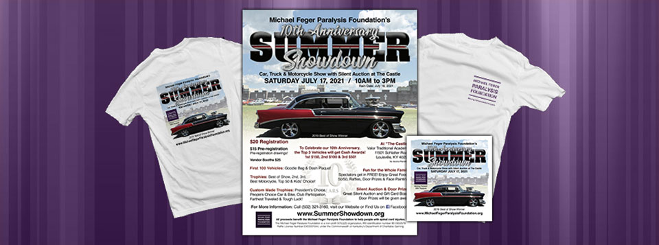 Graphics for the 10th Annual Summer Showdown Car Show & Silent Auction. Unfortunately, due to the COVID-19 pandemic, The Michael Feger Paralysis Foundation has decided to reschedule the 2020 Summer Showdown Auto Show & Silent Auction from July 18, 2020, to July 17, 2021. The Michael Feger Paralysis Foundation is Read More >